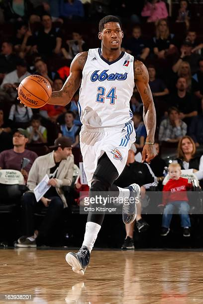 DeAndre Liggins of the Tulsa 66ers moves the ball up the court against the Idaho Stampede during an NBA DLeague game on March 16 2013 at CenturyLink...