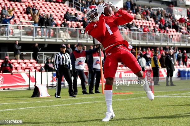 DeAndre Thompkins of the DC Defenders pulls in a pass to score a touchdown against the New York Guardians at Audi Field on February 15 2020 in...