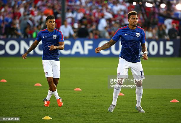 DeAndre Yedlin and Danny Williams of the United States train before the 2017 FIFA Confederations Cup Qualifying match against Mexico at Rose Bowl on...