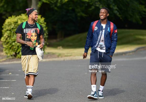 DeAndre Yedlin and Rolando Aarons arrive back for the first team training session at The Newcastle United Training Centre on July 6 in Newcastle upon...