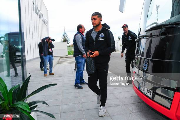 DeAndre Yedlin arrives for the friendly match between Newcastle United and Royal Antwerp FC at Pinatar Arena on March 18 i n Alicante Spain