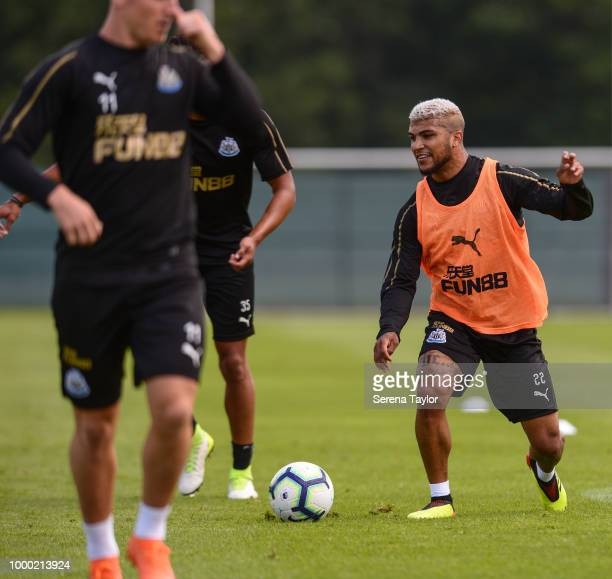 DeAndre Yedlin controls the ball during the Newcastle United Training session at Carton House on July 16 in Kildare Ireland