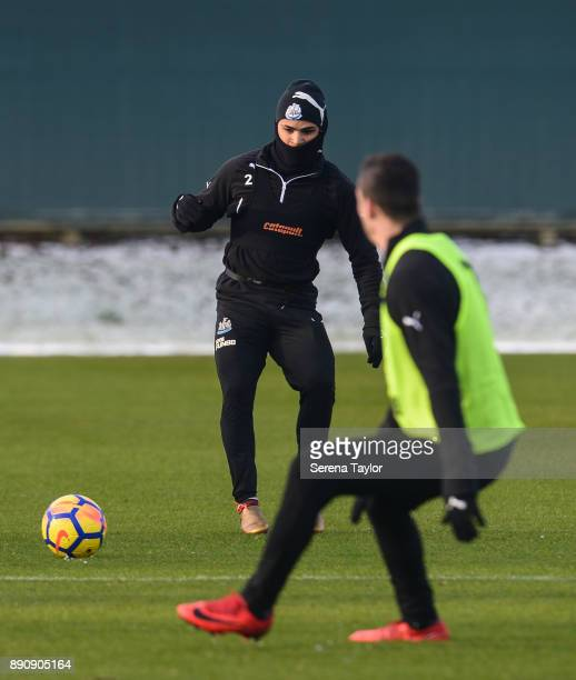 DeAndre Yedlin controls the ball during the Newcastle United training session at the Newcastle United Training Centre on December 12 in Newcastle...