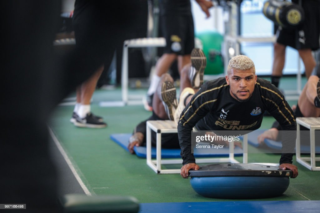 DeAndre Yedlin does pushups during the Newcastle United Training session at Carton House on July 12, 2018, in Kildare, Ireland.