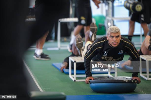 DeAndre Yedlin does pushups during the Newcastle United Training session at Carton House on July 12 in Kildare Ireland