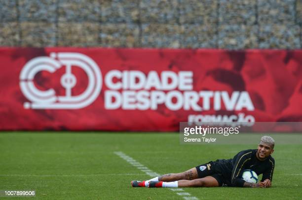 DeAndre Yedlin lays on the ground holding the ball during the Newcastle United Pre Season Training Session at the Sporting Clube de Braga on July 30...