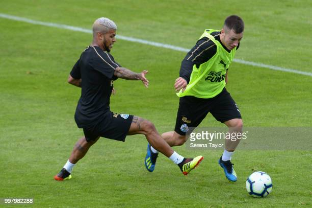 DeAndre Yedlin looks to close down Cal Roberts during the Newcastle United Training session at Carton House on July 13 in Kildare Ireland