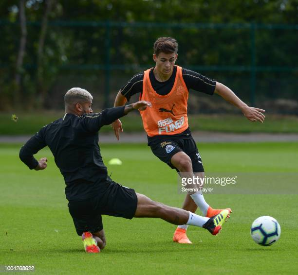 DeAndre Yedlin makes a sliding tackle to win the ball from Victor Fernandez during the Newcastle United Training Session at the Newcastle United...