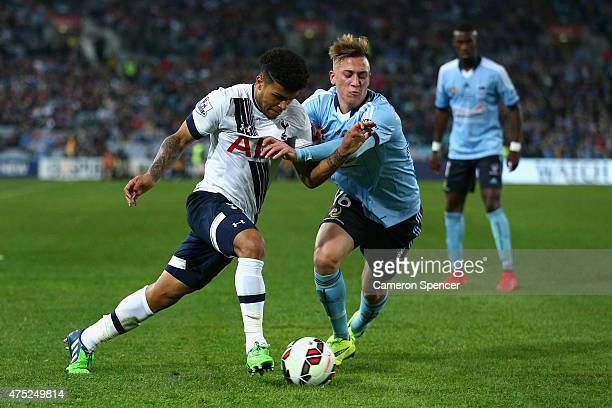 DeAndre Yedlin of Hotspur and Alex Gersbach of Sydney FC contest the ball during the international friendly match between Sydney FC and Tottenham...