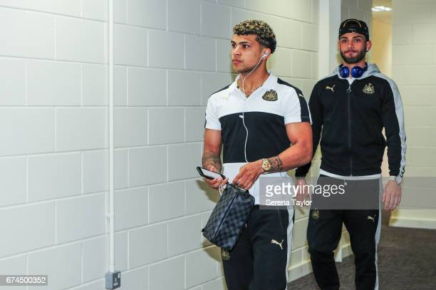 DeAndre Yedlin of Newcastle and Achraf Lazaar arrive to Cardiff City Stadium prior to kick off of the Sky Bet Championship match between Cardiff City...