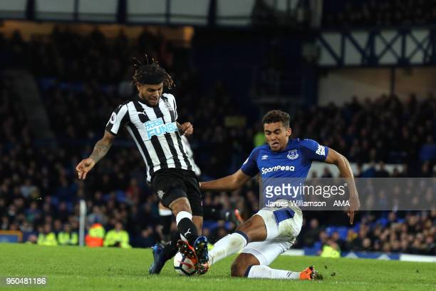 DeAndre Yedlin of Newcastle United and Dominic CalvertLewin of Everton during the Premier League match between Everton and Newcastle United at...