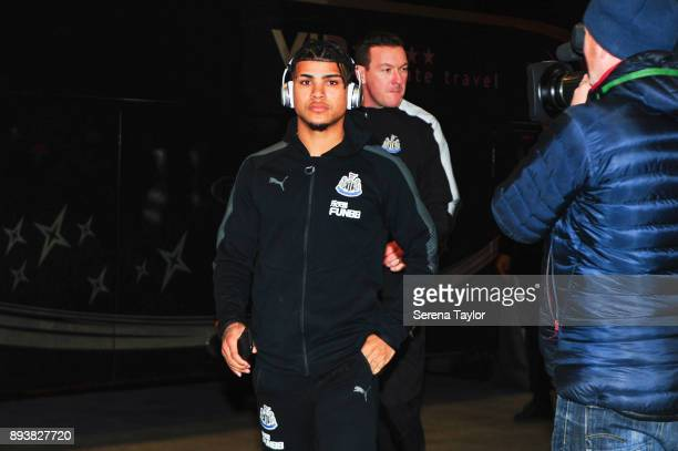 DeAndre Yedlin of Newcastle United arrives for the Premier League match between Arsenal and Newcastle United at the Emirates Stadium on December 16...