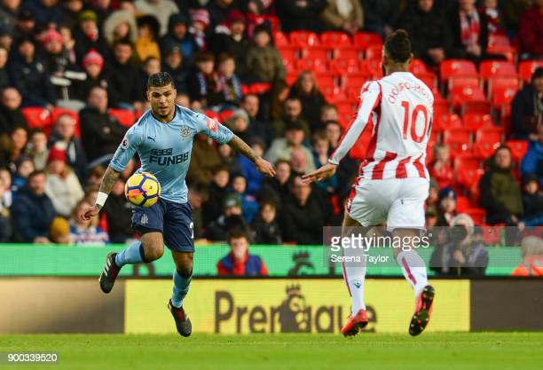 DeAndre Yedlin of Newcastle United controls the ball during the Premier League match between Stoke City and Newcastle United at Bet365 Stadium on...