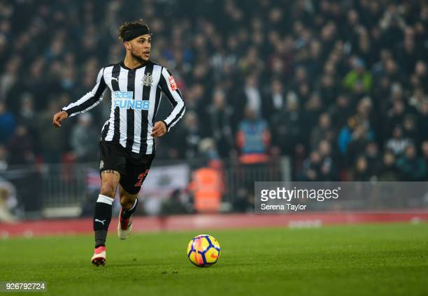 DeAndre Yedlin of Newcastle United controls the ball during the Premier League Match between Liverpool and Newcastle United at Anfield on March 3 in...