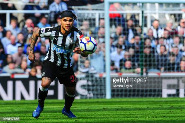DeAndre Yedlin of Newcastle United looks to control the ball during the Premier League match between Newcastle United and Arsenal at StJames' Park on...