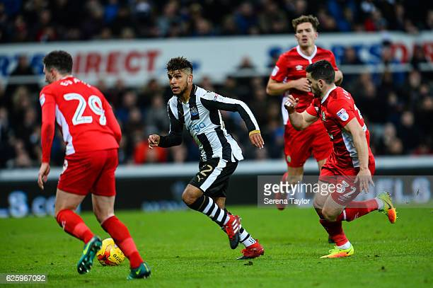 DeAndre Yedlin of Newcastle United runs with the ball during the Sky Bet Championship match between Newcastle United and Blackburn Rovers at StJames'...