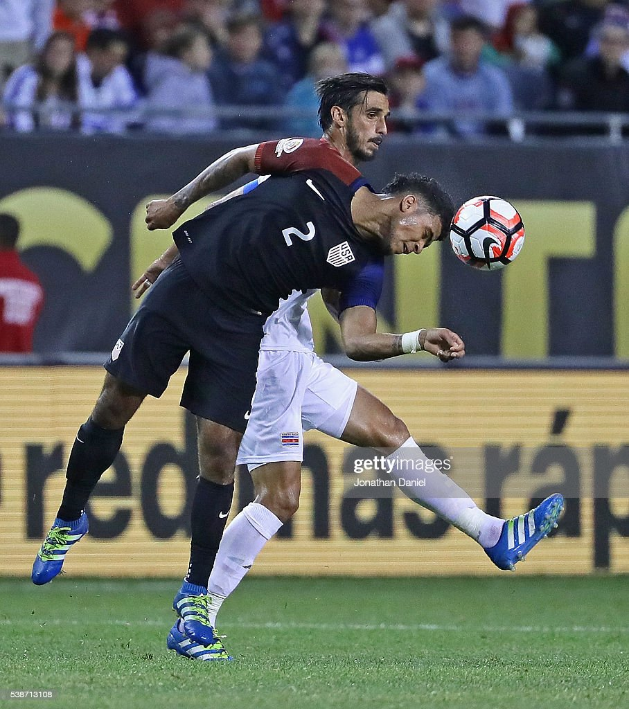 DeAndre Yedlin #2 of the United States heads the ball away from Bryan Ruiz #10 of Costa Rica during a match in the 2016 Copa America Centenario at Soldier Field on June 7, 2016 in Chicago, Illinois. The United States defeated Costa Rica 4-0.
