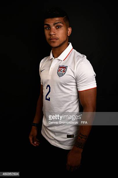 DeAndre Yedlin of the United States poses during the Official FIFA World Cup 2014 portrait session on June 9 2014 in Sao Paulo Brazil