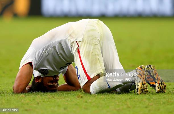 DeAndre Yedlin of the United States reacts after the 12 defeat in the 2014 FIFA World Cup Brazil Round of 16 match between Belgium and USA at Arena...