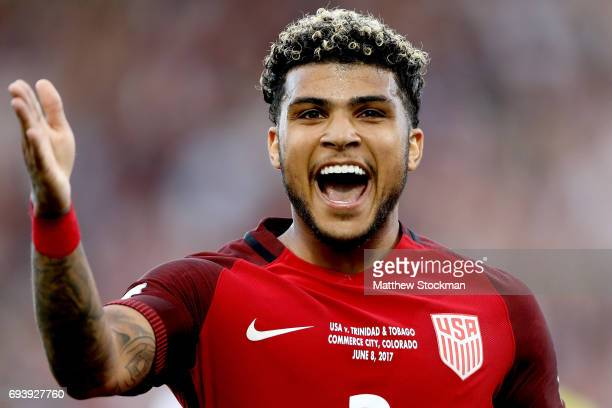 DeAndre Yedlin of the U.S. National Team celebrates setting up the first goal in the second half against Trinidad & Tabago during the FIFA 2018 World...