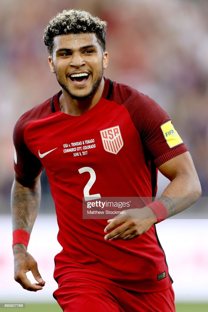DeAndre Yedlin #2 of the U.S. National Team celebrates setting up the first goal in the second half against Trinidad & Tabago during the FIFA 2018 World Cup Qualifier at Dick's Sporting Goods Park on June 8, 2017 in Commerce City, Colorado.