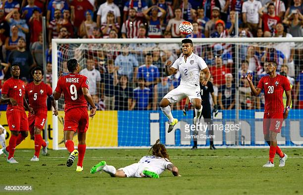 DeAndre Yedlin of the USA heads the ball during the CONCACAF Gold Cup match against Panama at Sporting Park on July 13 2015 in Kansas City Kansas