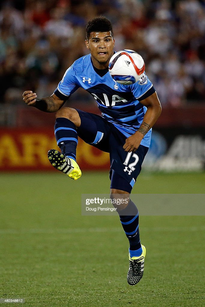 DeAndre Yedlin #12 of Tottenham Hotspur controls the ball against the MLS All-Stars during the 2015 AT&T Major League Soccer All-Star game at Dick's Sporting Goods Park on July 29, 2015 in Commerce City, Colorado. The MLS All-Stars defeated Tottenham Hotspur 2-1.