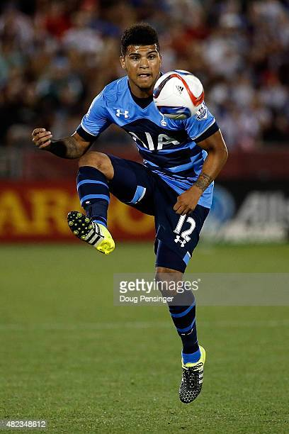 DeAndre Yedlin of Tottenham Hotspur controls the ball against the MLS AllStars during the 2015 ATT Major League Soccer AllStar game at Dick's...