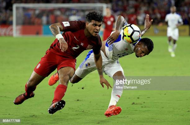 DeAndre Yedlin of United States and Alberto Quintero of Panama fight for the ball during the 2018 FIFA World Cup Qualifying match at Orlando City...