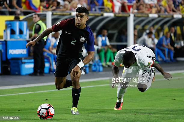 DeAndre Yedlin of United States controls the ball past Marlos Moreno of Colombia during the second half of the 2016 Copa America Centenario third...