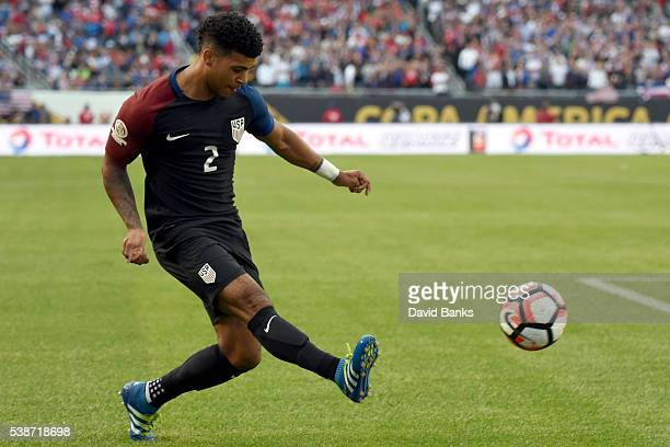 DeAndre Yedlin of United States takes a shot during a group A match between United States and Costa Rica at Soldier Field as part of Copa America...