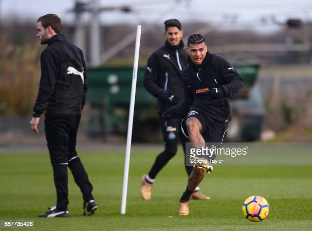 DeAndre Yedlin passes the ball during a Newcastle United training session at the Newcastle United Training Centre on December 7 in Newcastle upon...
