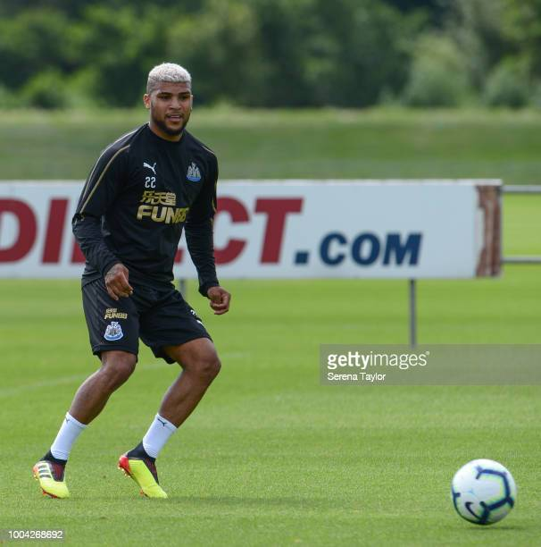DeAndre Yedlin passes the ball during the Newcastle United Training Session at the Newcastle United Training Centre on July 23 in Newcastle upon Tyne...