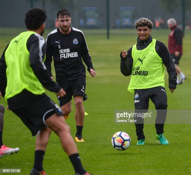 DeAndre Yedlin passes the ball during the Newcastle United Training session at the Newcastle United Training Centre on July 5 in Newcastle upon Tyne...