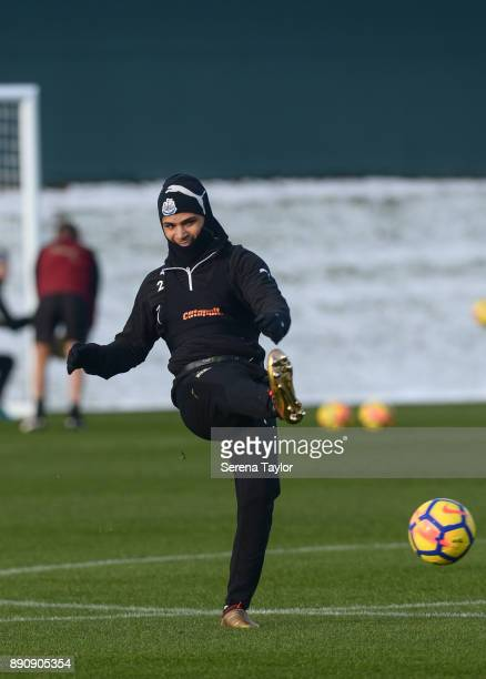 DeAndre Yedlin passes the ball during the Newcastle United training session at the Newcastle United Training Centre on December 12 in Newcastle upon...