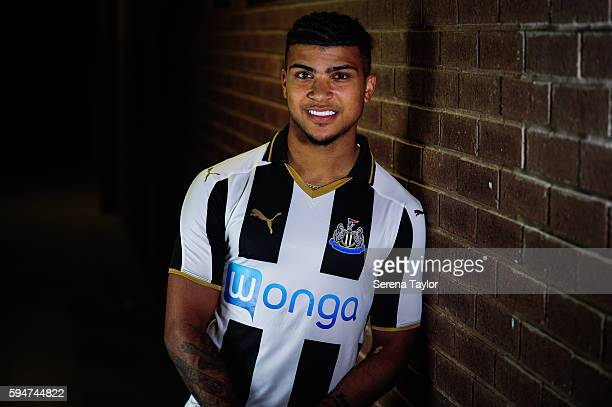 DeAndre Yedlin poses for photographs wearing a club shirt after signing a 5 year contract at StJames' Park on August 24 in Newcastle upon Tyne England