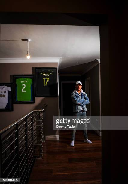 DeAndre Yedlin poses for photos during a photo shoot in Jesmond on November 30 in Newcastle upon Tyne England