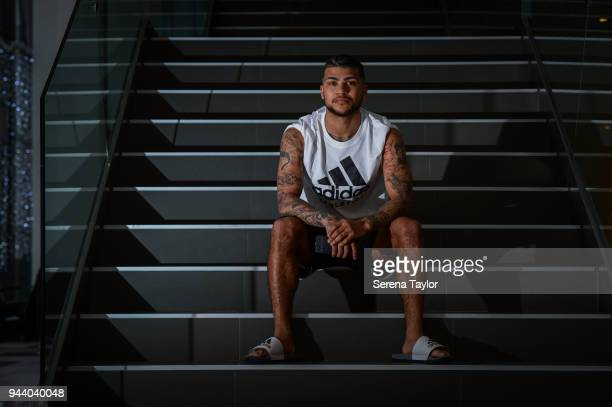 DeAndre Yedlin poses for photos during a photocall at Hotel La Finca Golf and Spa Resort on March 17 in Alicante Spain