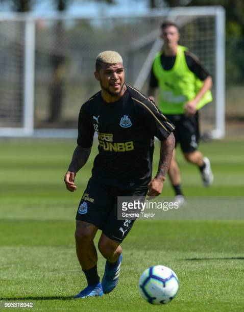 DeAndre Yedlin runs with the ball during the Newcastle United Training Session at the Newcastle United Training Centre on July 7 in Newcastle upon...