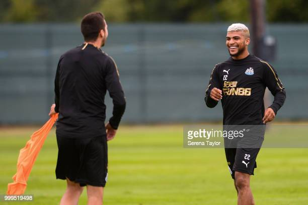 DeAndre Yedlin smiles at Javier Manquillo during the Newcastle United Training session at Carton House on July 15 in Kildare Ireland
