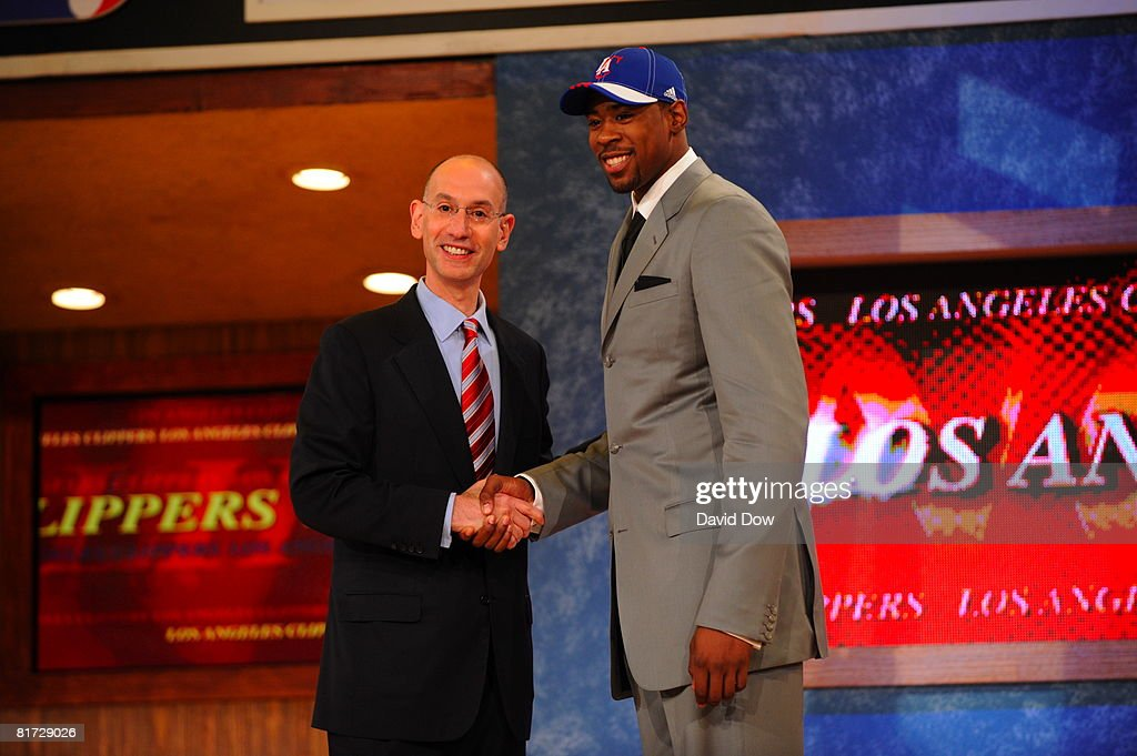 DeAndree Jordan selected number thirty-five overall by the Los Angeles Clippers shakes NBA Deputy Commissioner Adam Silver's hand during the 2008 NBA Draft at the WaMu Theatre at Madison Square Garden June 26, 2008 in New York City.