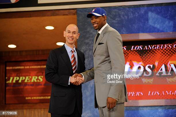 DeAndree Jordan selected number thirtyfive overall by the Los Angeles Clippers shakes NBA Deputy Commissioner Adam Silver's hand during the 2008 NBA...