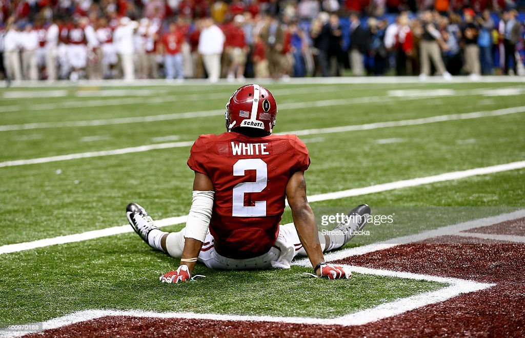 DeAndrew White #2 of the Alabama Crimson Tide lays in the end zone after an interception in the fourth quarter by Tyvis Powell #23 of the Ohio State Buckeyes during the All State Sugar Bowl at the Mercedes-Benz Superdome on January 1, 2015 in New Orleans, Louisiana.