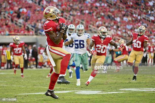 DeAndrew White of the San Francisco 49ers pulls in a punt for a fair catch against the Dallas Cowboys in the third quarter of a preseason game on...