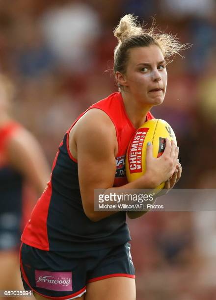 Deanna Berry of the Demons in action during the 2017 AFLW Round 06 match between the Adelaide Crows and the Melbourne Demons at TIO Stadium on March...