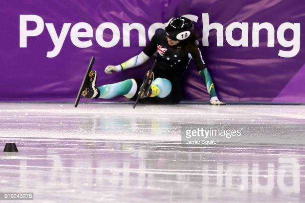 Deanna Lockett of Australia falls during the Short Track Speed Skating Ladies' 1500m Semifinals on day eight of the PyeongChang 2018 Winter Olympic...
