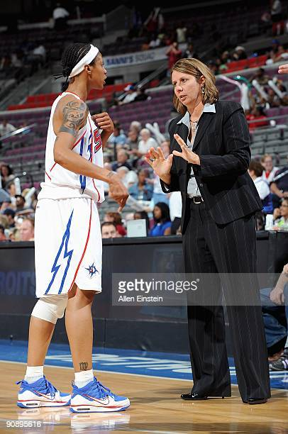 Deanna Nolan listens to assistant coach Cheryl Reeve of the Detroit Shock during the WNBA game against the New York Liberty on September 10 2009 at...