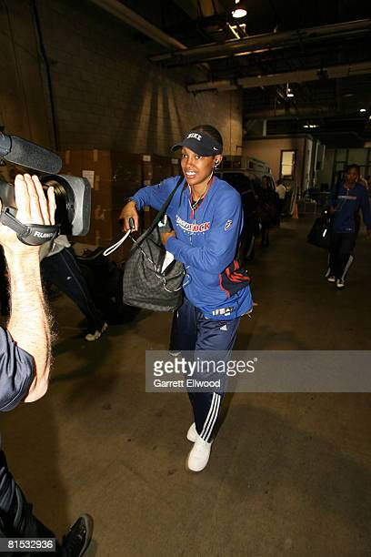 Deanna Nolan of the Detroit Shock arrives for the game against the Los Angeles Sparks at the Staples Center June 11 2008 in Los Angeles California...