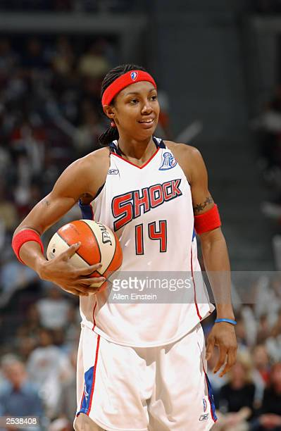 Deanna Nolan of the Detroit Shock looks on during game three of the 2003 WNBA Finals against the Los Angeles Sparks at the Palace of Auburn Hills on...