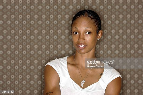Deanna Nolan of the Detroit Shock poses for a fashion portrait during WNBA All Star Week on July 14 2007 at the Renaissance Mayflower Hotel in...